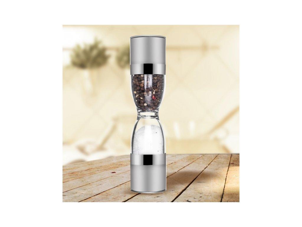 Nerezový mlýnek na sůl a pepř Duo průměr 5 cm, 1 ks