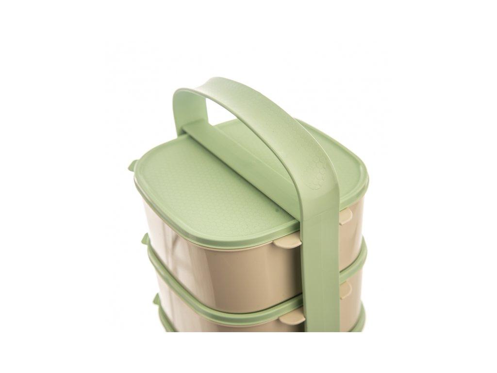 Plastový jídlonosič Almi zelený, 3 x 1,15 l