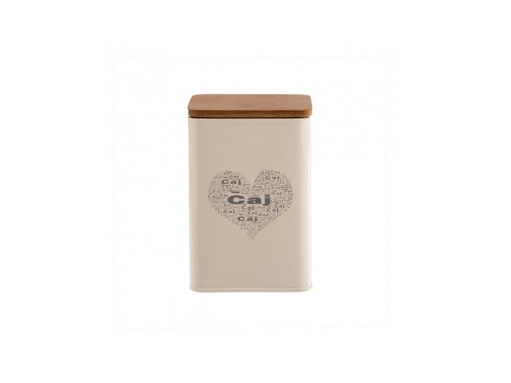 Plechová dóza s dřevěným víkem Čaj Srdce, 9 x 9 x 14 cm