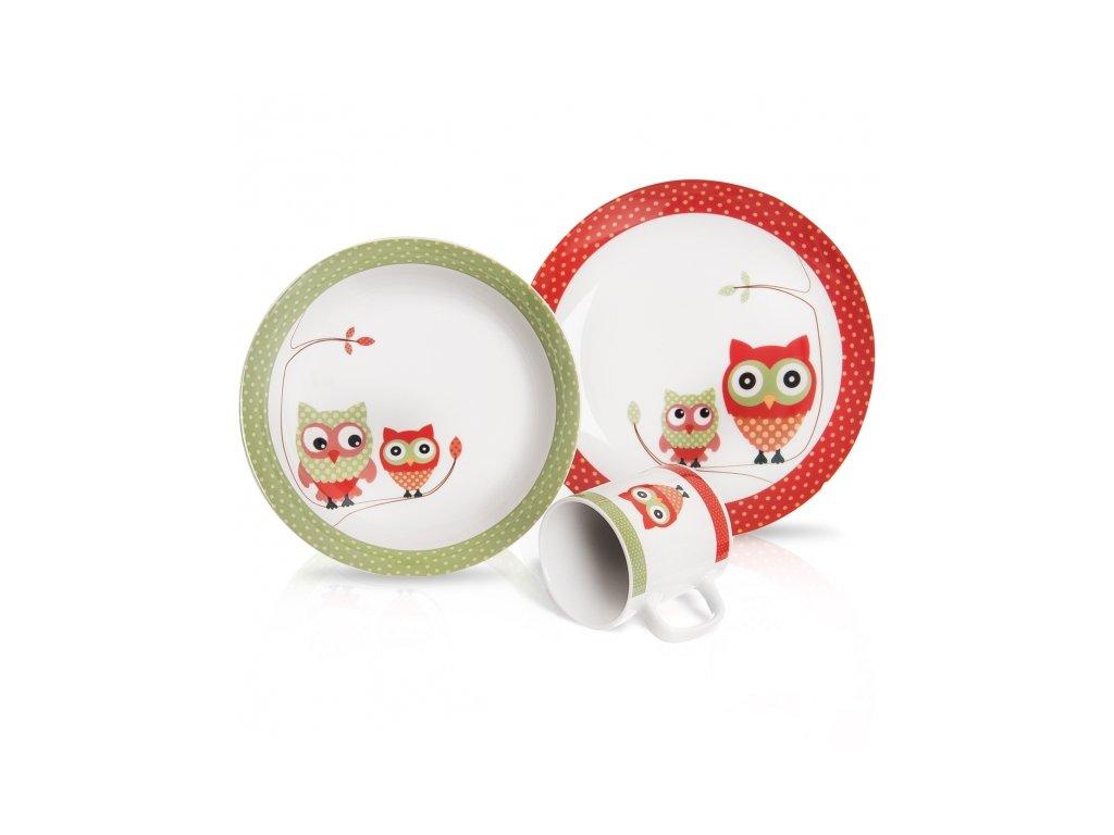 Porcelánová jídelní sada pro děti Sova 3 ks