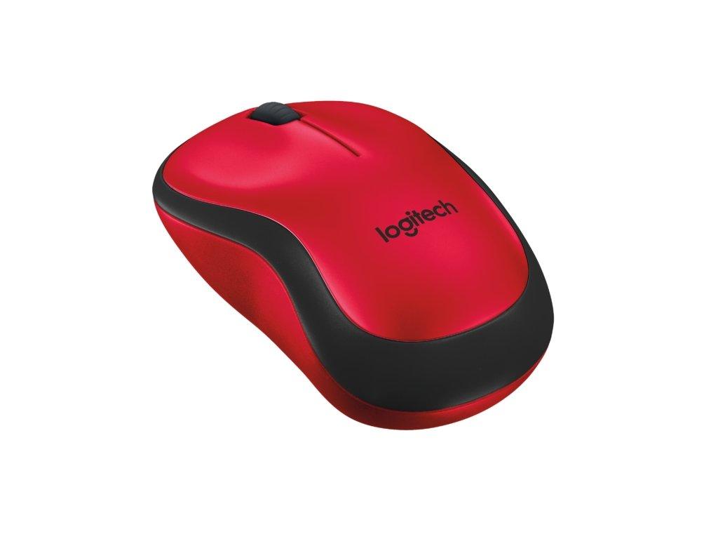 Myš Logitech Wireless Mouse M220 Silent / optická / 3 tlačítka / 1000dpi - červená