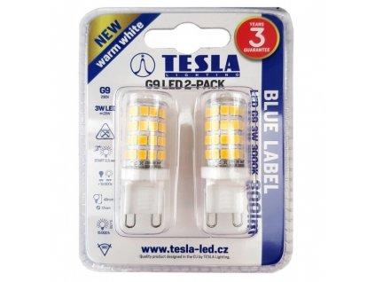 Žárovka LED Tesla bodová, 3W, G9, teplá bílá