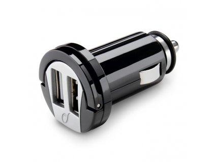 Adaptér do auta CellularLine 2x USB, 2A - černý