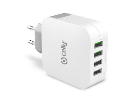 Nabíječka do sítě Celly Turbo, 4x USB, 4,8A - bílá