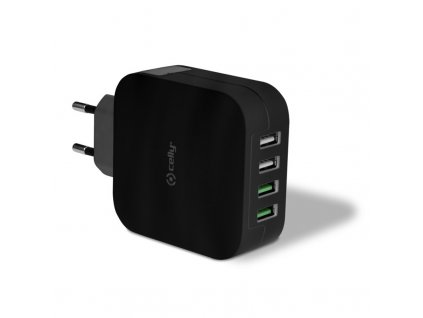 Nabíječka do sítě Celly Turbo, 4x USB, 4,8A - černá