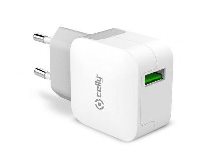 Nabíječka do sítě Celly Turbo, 1x USB 2,4 A - bílá