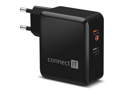 Nabíječka do sítě Connect IT 2x USB (3,4A), s funkcí rychlonabíjení QC 3.0 - černá