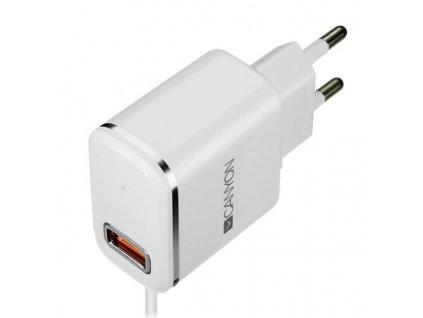 Nabíječka do sítě Canyon 1x USB, Lightning kabel 1m - bílá