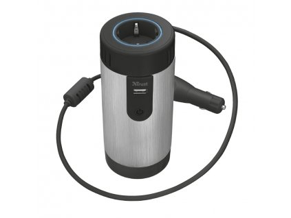 Adaptér do auta Trust Car 230 V Power Socket - černý/stříbrný