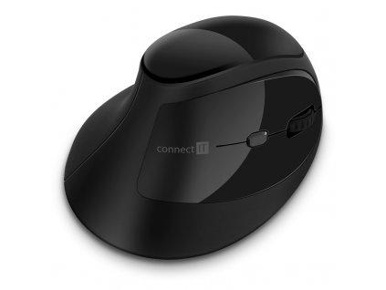 Myš Connect IT vertikální, ergonomická / optická / 6 tlačítek / 1600dpi - černá