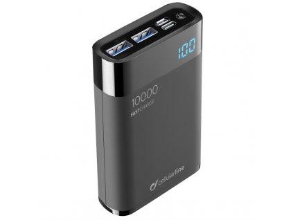 Powerbank CellularLine FreePower Manta HD 10000mAh, USB-C PD, QC 3.0 - černá