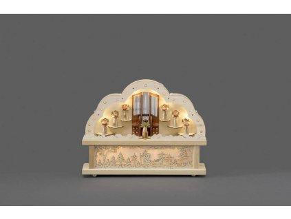 Adventní svícen 2818-100, dřevěný přírodní vyřezávaný, motiv VARHANY       KONST