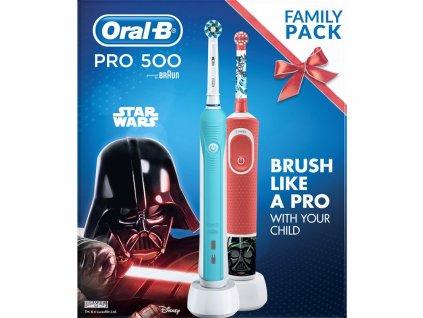 Set zubních kartáčků Oral-B PRO 500 + Vitality Kids D100 Star Wars