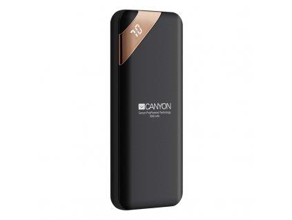 Powerbank Canyon 5000 mAh, USB-C, s digitálnim displejem - černá