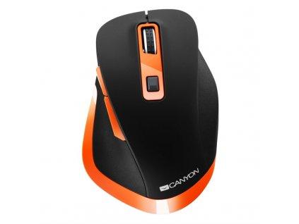 Myš Canyon CNS-CMSW14BO / optická / 6 tlačítek / 2400dpi - černá/oranžová