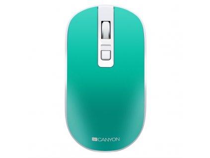 Myš Canyon CNS-CMSW18A, tichá, bezdrátové nabíjení / optická / 4 tlačítka / 1600dpi - zelená