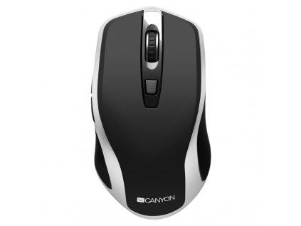Myš Canyon CNS-CMSW19B s bezdrátovým nabíjením / optická / 6 tlačítek / 1600dpi - černá/stříbrná