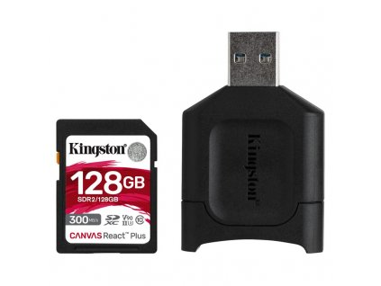Paměťová karta Kingston Canvas React Plus SDXC 128GB UHS-II U3 (300R/260W) + čtečka