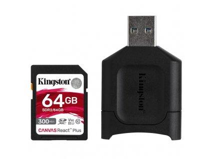 Paměťová karta Kingston Canvas React Plus SDXC 64GB UHS-II U3 (300R/260W) + čtečka