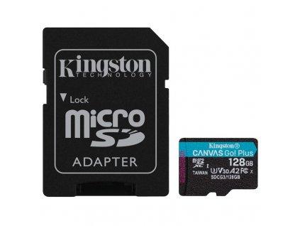 Paměťová karta Kingston Canvas Go! Plus MicroSDXC 128GB UHS-I U3 (170R/90W) + adaptér