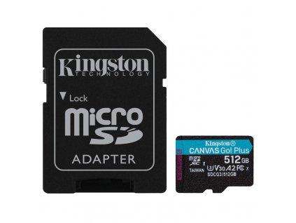 Paměťová karta Kingston Canvas Go! Plus MicroSDXC 512GB UHS-I U3 (170R/90W) + adaptér