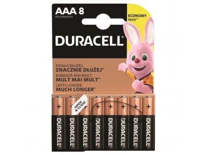 Baterie alkalická Duracell Basic AAA, LR03, blistr 8ks