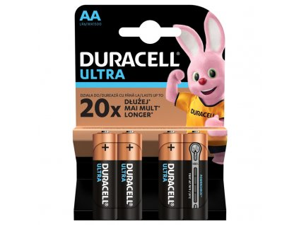 Baterie alkalická Duracell Ultra AA, LR06, blistr 4ks