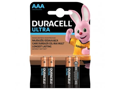 Baterie alkalická Duracell Ultra AAA, LR03, blistr 4ks