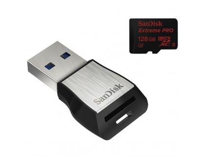 Paměťová karta Sandisk Micro SDXC Extreme Pro 128GB + USB 3.0 čtečka