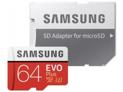 Paměťová karta Samsung Micro SDXC EVO+ 64GB Class 10 UHS-3 (R100/W20) + SD adaptér
