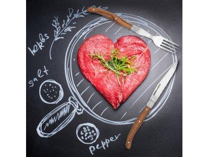 Steak set nůž+vidlička nerez/dřevo
