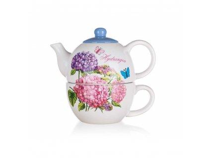 Keramická konvička na čaj Banquet Hydrangea 0,33 l