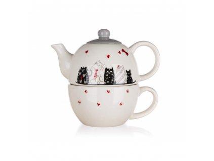 Keramická konvička na čaj Banquet Kočky 0,33 l