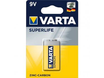 Baterie zinkouhlíková Varta Superlife 9V, 6F22, blistr 1ks
