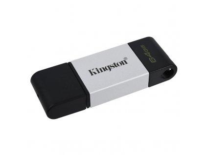 Flash USB Kingston DataTraveler 80 64GB, USB-C - černý/stříbrný