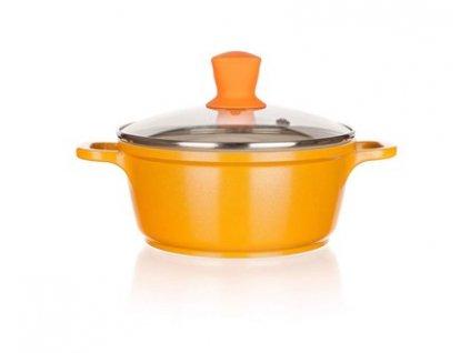 BANQUET Hrnec s keramickým povrchem GOURMET CERAMIA Orange 16 x 7,5 cm, 1,1 l, s poklicí