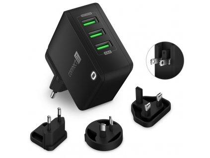Nabíječka do sítě Connect IT Nomad2 WorldTravel, 3x USB, 24W - černá