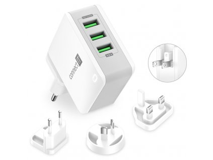 Nabíječka do sítě Connect IT Nomad2 WorldTravel, 3x USB, 24W - bílá
