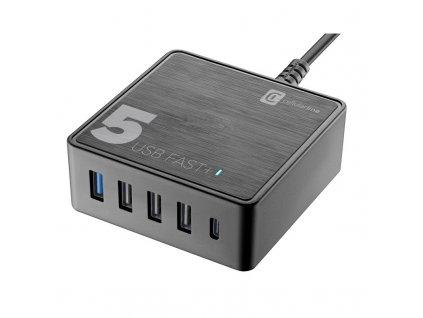 Nabíječka do sítě CellularLine Multipower 5 Fast+ , 4xUSB, 1xUSB-C, 60W - černá
