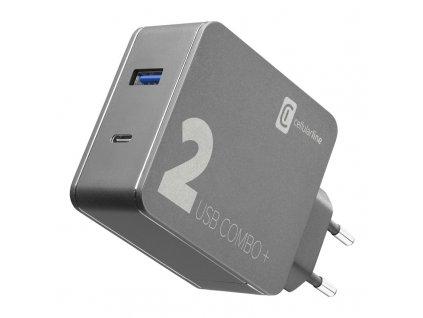 Nabíječka do sítě CellularLine Multipower 2 Combo Plus,1x USB 3.0, 1x USB-C, PD 48W + 1,6 m USB-C kabel - černá