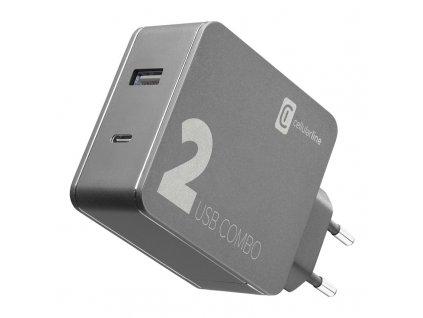 Nabíječka do sítě CellularLine Multipower 2 Combo, 1xUSB 2.0, 1xUSB-C, 42W - černá