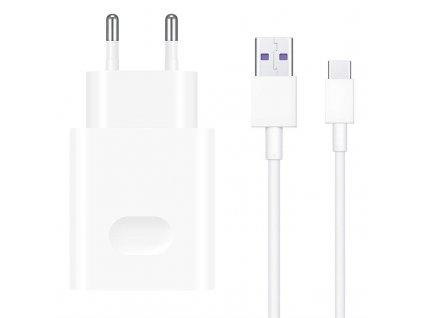 Nabíječka do sítě Huawei SuperCharge 22.5W, 1x USB, + USB-C kabel 1m - bílá