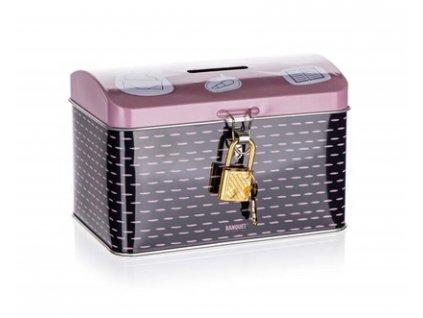 BANQUET Plechovka - kasička truhla 4KIDS 12,8 x 8,4 x 8,4 cm, růžová