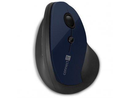 Myš Connect IT vertikální, ergonomická / optická/ 6 tlačítek/ 1600DPI - modrá