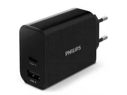 Nabíječka do sítě Philips 1x USB-C, 1x USB A - černá