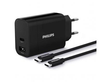 Nabíječka do sítě Philips 1x USB-C, 1x USB A + USB-C kabel 1m - černá