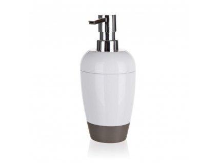 BRILANZ Dávkovač mýdla plastový oválný 8,8 x v 19 cm, bílo-šedý