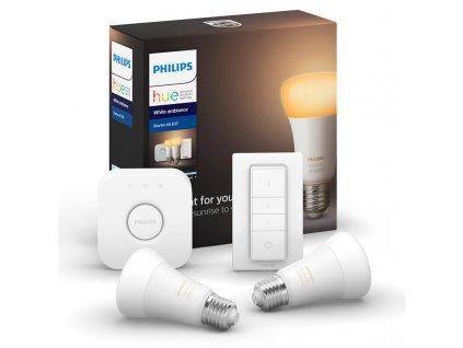 Startovací sada Philips Hue 9W, E27, White Ambiance (2ks) + bridge + Switch