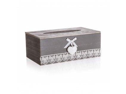 HOME DECOR Krabička s krajkou na papírové kapesníky LACEWORK, ov.otvor