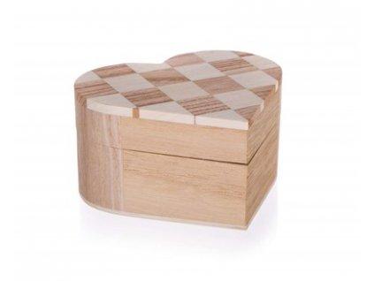 Krabička dřevěná CHESS 10,7x10 x 6 cm, srdce
